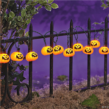 PLASTIC PUMPKIN LIGHT SET - Halloween Decorations