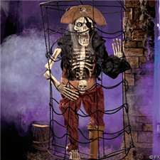 Deluxe Caged Peg-Leg Pirate - Halloween Decorations