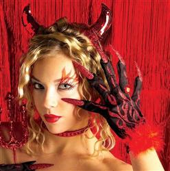Gloves - Fancy Devil Flames w/Glitter Nails