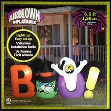 Airblown - BOO Sign w/Witch & Ghost