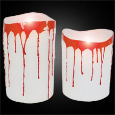 Pillar White Candle - Blood Dripping -Set of 2