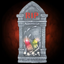 28&quot; Tombstone w/Graveyard Scene