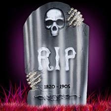 """21"""" Tombstone with Skulls - Skeleton Hands"""