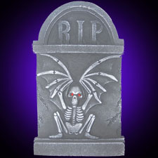 Winged Sitting Skeleton Tombstone 18""