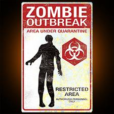 Verticle Metal Zombie Sign Zombie Outbreak