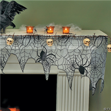 Spiderweb Mantel Scarf - Halloween Decorations