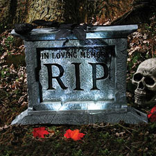 "22"" Light-Up Spooky Tombstone with Black Rose"