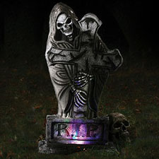 "30"" Light-Up Gothic Tombstone - Reaper Behind Cross"