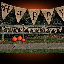 Burlap Halloween Banner - Happy Halloween